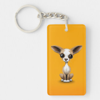 Cute Curious Chihuahua with Large Ears on Yellow Keychain