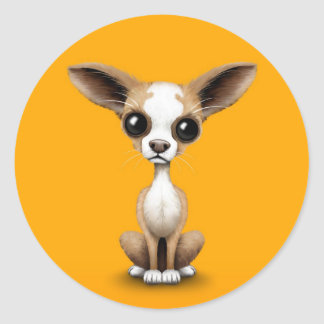 Cute Curious Chihuahua with Large Ears on Yellow Classic Round Sticker