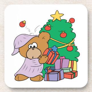 cute curious christmas bear beverage coaster