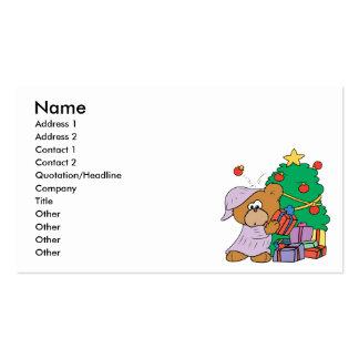 cute curious christmas bear business card templates