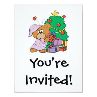cute curious christmas bear card