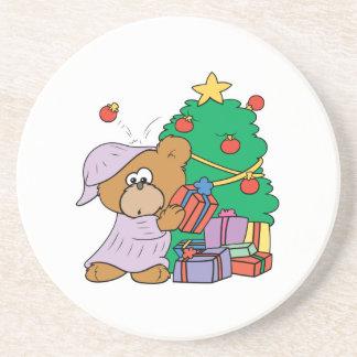 cute curious christmas bear coaster