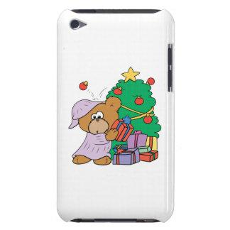 cute curious christmas bear iPod touch case