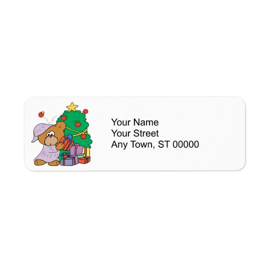 cute curious christmas bear label