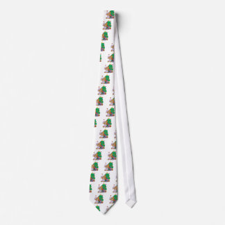 cute curious christmas bear neck tie
