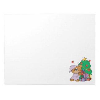 cute curious christmas bear note pad