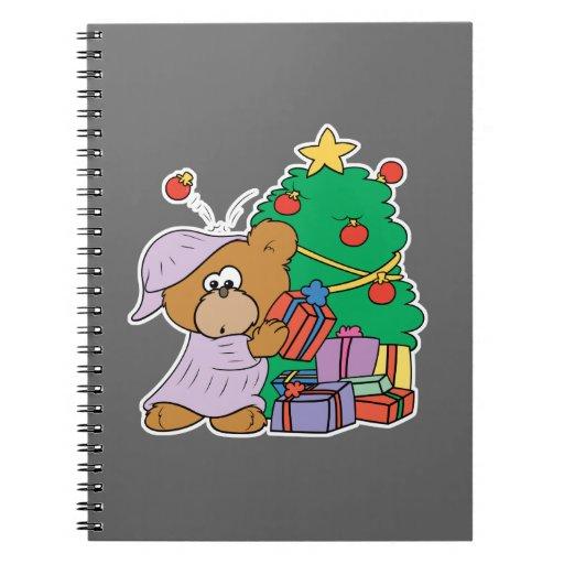 cute curious christmas bear notebooks