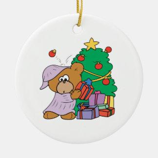 cute curious christmas bear Double-Sided ceramic round christmas ornament