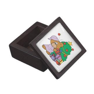 cute curious christmas bear premium trinket boxes