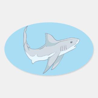 Cute Curious Grey Shark Design Oval Sticker