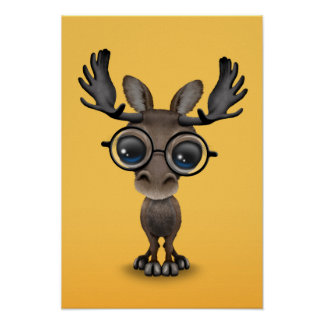 Cute Curious Moose Nerd Wearing Glasses on Yellow Poster