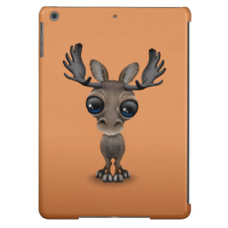Cute Curious Moose with Big Eyes on Brown Case For iPad Air