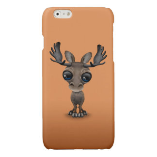 Cute Curious Moose with Big Eyes on Brown Glossy iPhone 6 Case