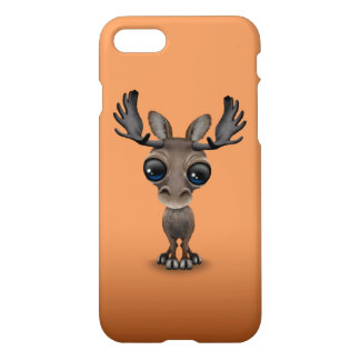 Cute Curious Moose with Big Eyes on Brown iPhone 8/7 Case