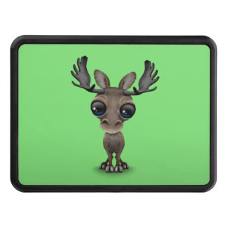 Cute Curious Moose with Big Eyes on Green Hitch Cover
