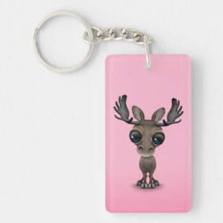 Cute Curious Moose with Big Eyes on Pink Keychain