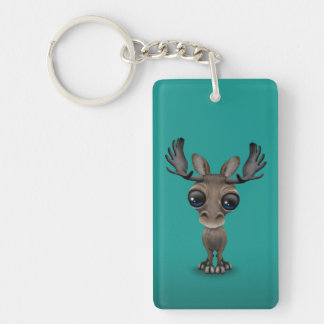 Cute Curious Moose with Big Eyes on Turquoise Keychain