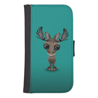 Cute Curious Moose with Big Eyes on Turquoise Galaxy S4 Wallet Cases