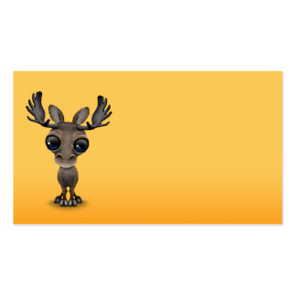 Cute Curious Moose with Big Eyes on Yellow Business Card
