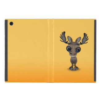 Cute Curious Moose with Big Eyes on Yellow iPad Mini Cover