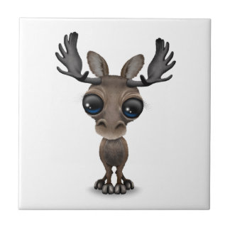 Cute Curious Moose with Big Eyes Tile