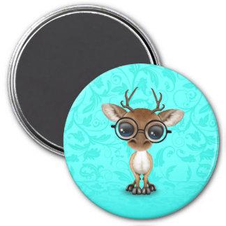 Cute Curious Nerdy Deer Wearing Glasses on Blue Magnet