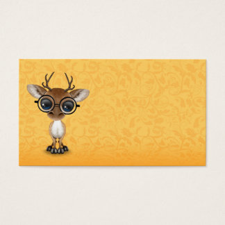 Cute Curious Nerdy Deer Wearing Glasses on Yellow Business Card