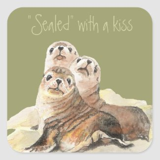 Cute Curious Seals, Sealed with a Kiss sticker