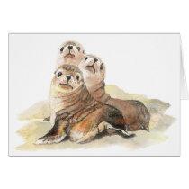 Cute Curious Seals, Watercolor Animals