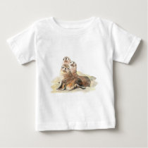 Cute Curious Seals, Watercolor Animals Baby T-Shirt