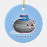 Cute Curling Stone Christmas Ornament