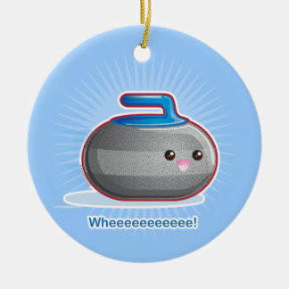 Cute Curling Stone Double-Sided Ceramic Round Christmas Ornament