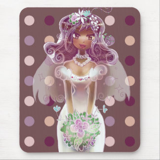 Cute Curly Purple Hair Bride Illustration Mouse Pad