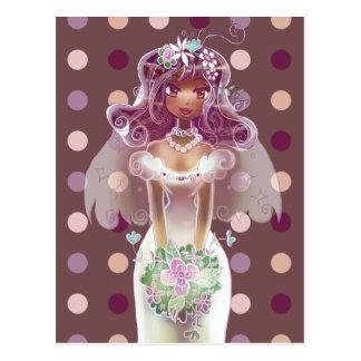Cute Curly Purple Hair Bride Illustration Post Card