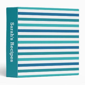Cute Custom Aqua Teal Blue Stripes Recipe Binder
