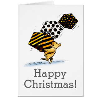 Cute Custom Baby Christmas Bear Bearing Gifts Greeting Card