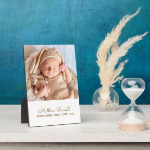 Cute Custom Baby Photo Birth Stats Plaque