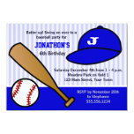 Cute Custom Baseball Birthday Party Blue and White Announcements