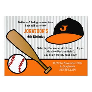 Cute Custom Baseball Birthday Party Orange & Black 4.5x6.25 Paper Invitation Card