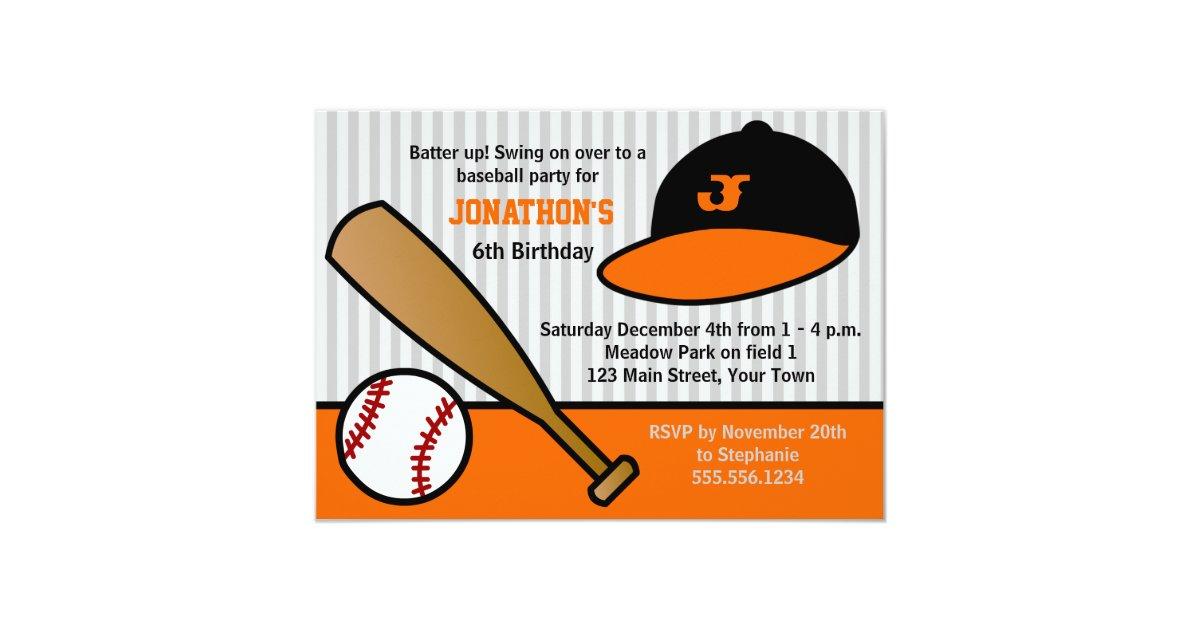 Cute Custom Baseball Birthday Party Orange Black Invitation