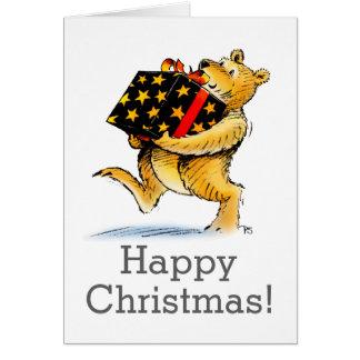 Cute Custom Big Christmas Bear Art Greeting Card