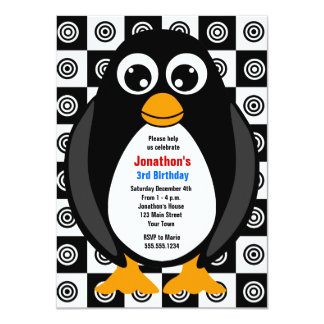 Cute Custom Birthday Party Penguin Invitation