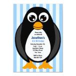 "Cute Custom Birthday Party Penguin Invite - Blue 4.5"" X 6.25"" Invitation Card"