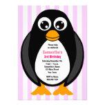Cute Custom Birthday Party Penguin Invite - Pink