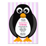 Cute Custom Birthday Party Penguin Invite - Pink