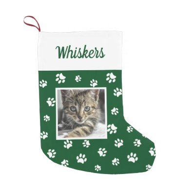 Cute Custom Cat Photo Name Red White Paws Small Christmas Stocking