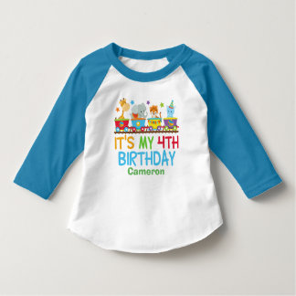 Cute Custom Circus Animal Train 4th Birthday T-Shirt