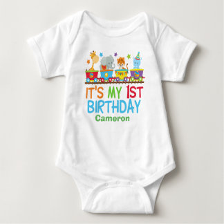 Cute Custom Circus Animal Train Birthday Baby Bodysuit