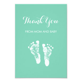 Cute Custom Color Baby Footprints Thank You Card