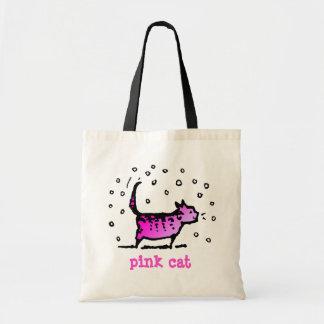 Cute Custom Funny Pink Cat Tote Bag